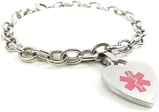 Pre-Engraved & Customized Women's Blood Type O Medical Charm Bracelet, Steel O-Link