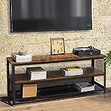 BAKAJI Mueble para TV de Madera MDF y Metal con 2 estantes para Consolas de Videojuegos, DVD, Mueble con Carro para televisión de diseño Moderno Industrial Dimensiones 100 x 40 x 52 cm