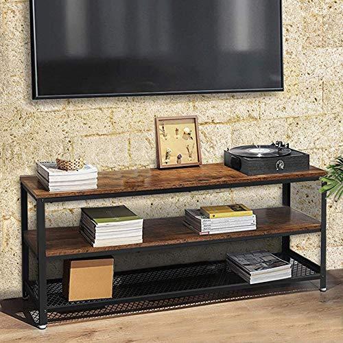 Bakaji Mobile TV in Legno MDF e Metallo con 2 Ripiani Porta Console Videogiochi DVD Mobiletto Carrello Porta Televisore Design Moderno Industriale Dimensione 100 x 40 x 52 cm