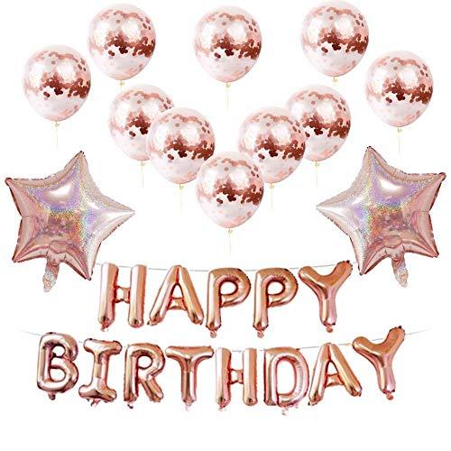 Lifreer Decoraciones de Fiesta de Oro Rosa, 10PCS Globos de Feliz cumpleaños Globo de Confeti de látex, 2PCS Globo de Papel de Estrella
