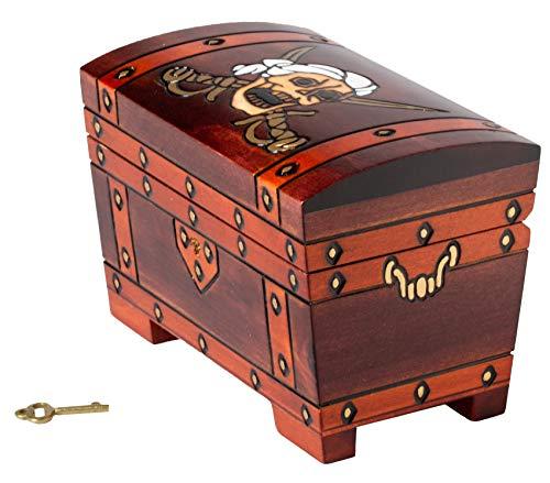 Artisan Owl Polnische handgefertigte Kapitänshaken-Holzbox, inklusive Schloss und Schlüssel, mit rotem Innenraum, für zwei Kartendecks