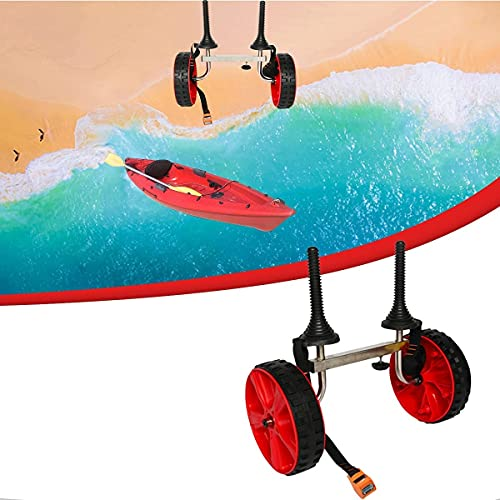WXking Carreras de kayaks, Mini remolque universal de kayak, aluminio, 304 sujetadores de acero inoxidable, antirust, neumático de goma, almohadilla de goma, robusto robusto, 140 libras, para llevar c