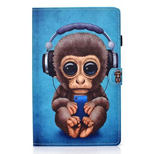 Jajacase Funda Folio Lenovo Tab M10 Plus FHD(2nd Gen) 2020 10.3' Tableta TB-X606F / X606X -Slim Carcasa Cuero PU Silicona y Soporte y Multiángulo Case Flip Cover Protector,Mono Musical