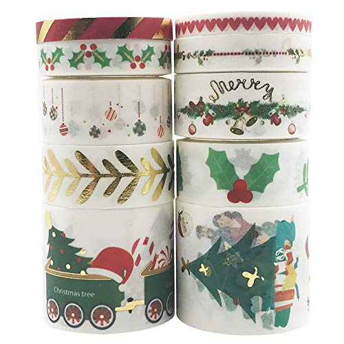 10 Rolls Holiday Christmas Gold Foil Colored Metallic Washi Tape Set, EnYan Japanese Masking Decorative Tapes for DIY Crafts and Arts Bullet Journal Planners Scrapbooking Adhesive