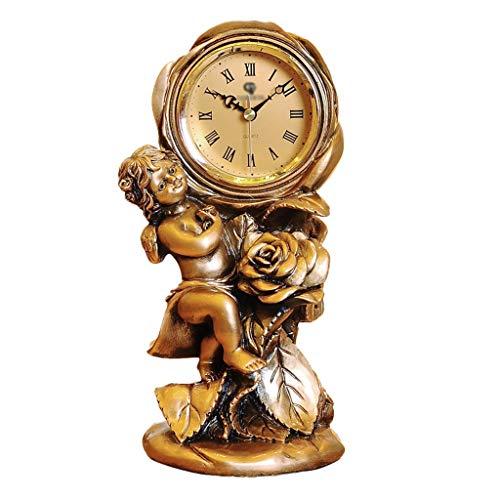 JCOCO Européenne horloge de table résine ange créative enfants chambre chambre salon bureau muet silencieux quartz horloge bureau horloge décoration de la maison