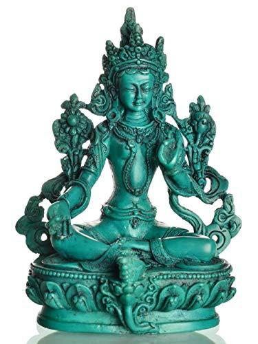 BUDDHAFIGUREN/Billy Held Grüne Tara Figur Estatua de Buda, Resina, Turquesa, 15 cm türiks