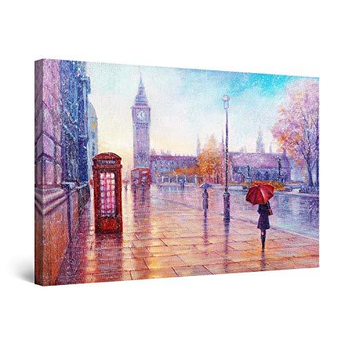 Startonight Quadro su Tela Violo Giorno di Pioggia a Londra, Quadri Moderni Astratti Stampe Camere da Letto 60 x 90 cm
