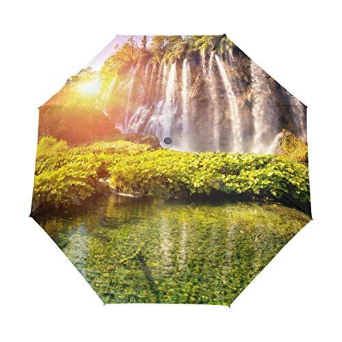 rodde Regenschirm Natur Wald Baum Berg Wasserfall See Auto Öffnen Schließen Sonne Regen Regenschirm