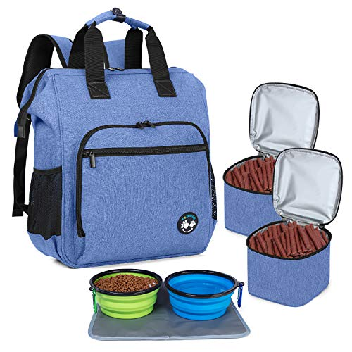 Teamoy Dog Travel Backpack, Pet Supplies Bag Tote with 2 Silicone Collapsible Bowls, 2 Food Carrier, 1 Water-Resistant Placemat, Blue