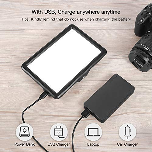 LED Video Light, RALENO Dimmable Bi-color 3200-5600k Panel Light, Built-in 5000mA Li-ion Battery,CRI95+, 104 Led Camera Light with Hot Shoe Mount and USB Charger for All DSRL Cameras and Camcorders