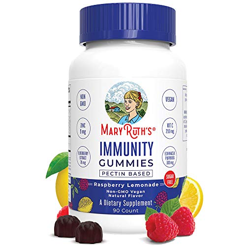 Immunity Gummies 5-in-1 by MaryRuth's (Raspberry Lemonade) | Powerful Blend of Zinc, Elderberry, Vitamin C, Vitamin D, and Echinacea for Kids & Adults | Vegan, Non-GMO, Gluten Free | 90ct