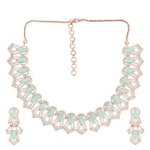 Soni ZAPPHIRE - Parure composta da Collana e Orecchini, in Oro Rosa, con Diamanti Indiani Americani e Pietre semipreziose Color Menta