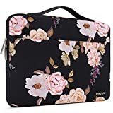 MOSISO Laptop Sleeve 360 Protective Case Bag Compatible with 13-13.3 inch MacBook Pro, MacBook Air, Notebook, Polyester Peony Handbag with Trolley Belt, Black