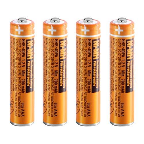 4 x Pilas Recargables AAA 700 mah 1.2v para Panasonic, Baterias Recargables NiMH para Telefonos Inalambricos