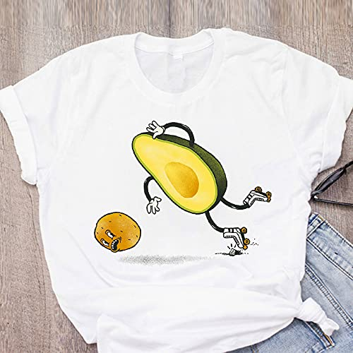 Damen T-Shirt Tunika Sommer Sommer Kurzarm Weiß T-Shirt,Vintage Cartoon Print Niedliche Avocado Grafik O-Ausschnitt Loose Fit Print Kleidung,Casual Tops Kleidung Shirt Für Frauen,Avocado,K,X,Groß