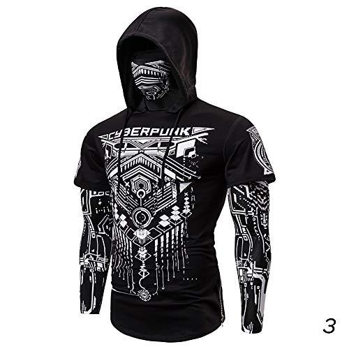 X&Armanis Kapuzenpullover für Herren, Cyberpunk-Baumwoll-Sweatshirt Maske abstrakte geometrische Bedruckte Langarm-T-Shirt,1,XL