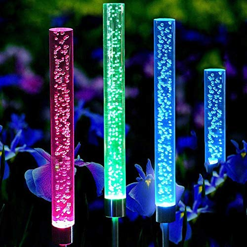 GuoQiang Zhou Burbuja 4PCS Luces Solar al Aire Libre del Tubo Luces del palillo Solar acrílico RGB Cambio Multi del Color LED Resistente al Agua Luces Decoración (Color : 1, Size : One Size)