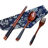 STRIR Japanese Vintage Wooden Chopsticks Spoon Fork Tableware 3pcs Set New Gift,Generic japonés de Madera Natural Palillos Cuchara Tenedor Vajilla