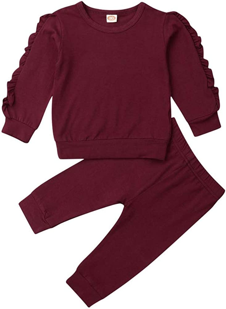 Baby Girls Autumn Clothes, Toddler Girl Long Sleeve Ruffle Tops Sweatsuit Pants 2Pcs Outfits Set