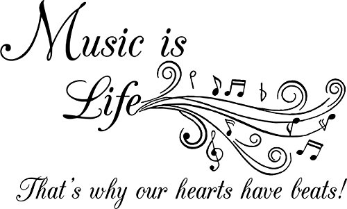Walls with Style Music is Life That's why Our Hearts Have Beats, Musicians (Black, Large 38