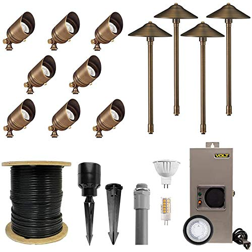 VOLT 8 Spotlight 4 Path Light Complete Kit, Brass