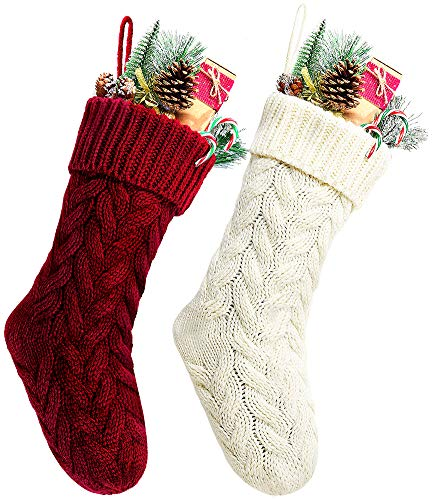 Kunyida Pack 2,18' Unique Burgundy and Ivory White Knit Christmas Stockings Style3