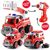 Take Apart Toys with Electric Drill | Converts to Fire Truck Remote Control Car | 3 in one Take Apart Toy for Boys | Gift Toys for Boys 3,4,5,6,7 Year Olds | Kids Stem Building Toy