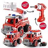 Top Race Remtote Control DIY Construye tu Mismo RC Police Car Camión de Bomberos Camión o Set de construcción Regalos para niños Niños Edades 3 + (DIY200 Set DE Fuego)