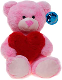 WILDREAM Pink Teddy Bear Plush Toy with Holding a Red Heart 9.8