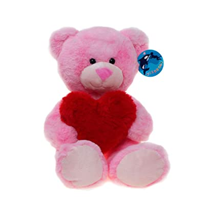 WILDREAM Pink Teddy Bear Plush Toy with Holding...