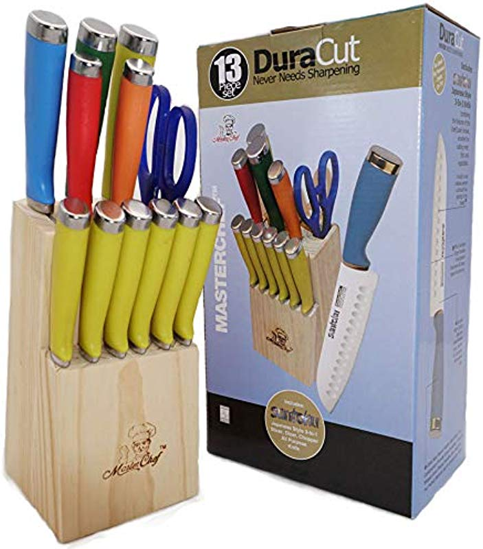 Masterchef DuraCut 13 Piece Multi Color Handle Knife Set Includes Santoku Chef Knife