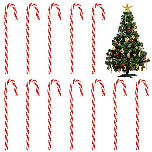 12 Piezas Decoraciones de Bastón de Caramelo de Navidad Bastón Retorcido Rojo y Blanco de Caramelo de Plástico Adorno Colgante de Árbol de Navidad Decoración de Bastón de Caramelo para Árbol