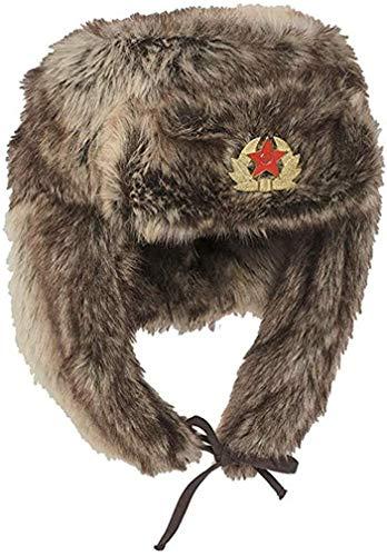 Mil-Tec Shapka Russische Wintermütze Pelzmütze Braun Tschapka Fellmütze Mütze (XL)