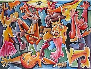 """Pintura Grande Lienzo al Óleo Arte Abstracto Moderno """"LA LUCHA"""" por DOBOS, Cuadro Original para Decoración del Hogar"""