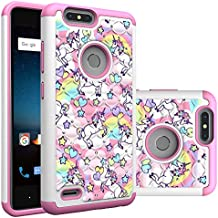 ZTE Blade ZMax Case, Blade ZMax Pro 2 / Sequoia Case, Rainbow Unicorn Pattern Heavy Duty Shockproof Studded Rhinestone Crystal Bling Hybrid Case Silicone Protective Armor for ZTE Z982 / ZTE Sequoia