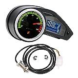 FLAMEER Velocímetro Digital Tacómetro Medidor de Combustible Retroiluminación Pantalla LCD Impermeable para RPS 250 Negro - con Sensor magnético