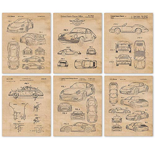 Vintage Porsche 911 Patent Poster Prints, Set of 6 (8x10) Unframed Photos, Wall Art Decor Gifts Under 20 for Home, Office, Garage, Shop, Man Cave, College Student, Teacher, Germany Cars & Coffee Fan