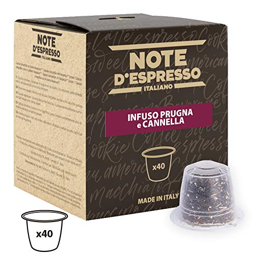 Note DEspresso - Capsulas de tisana de ciruela y canela exclusivamente compatibles con cafeteras Nespresso*, 3g (caja de 40 unidades)