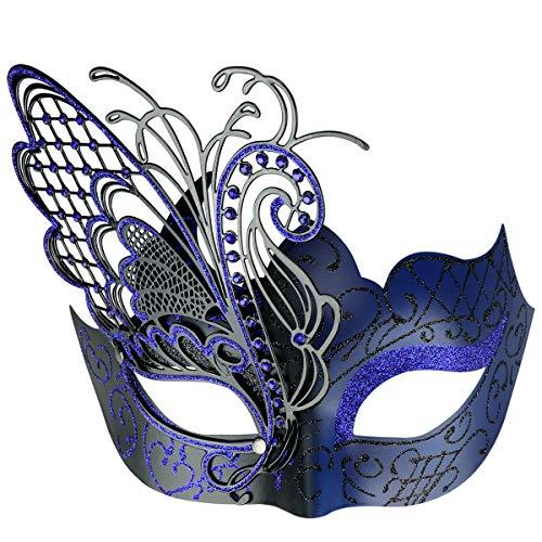 Thmyo Butterfly Lady Masquerade Mask, Máscara de Baile de Mardi Gras Veneciana de Halloween Brillante (Negro + Azul)