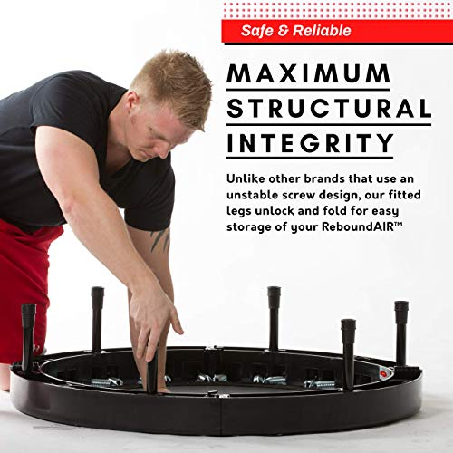 Ultimate Rebounder by Rebound Air | Foldable Mini Fitness Trampoline for Exercise | Quarter-Fold (Black)