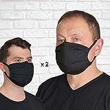 FEELPROTECTED® [2er-Set] Schutzmasken   Öko-Tex-Baumwolle 2-lagig   extra Silberinonen-Beschichtung   L/XL - Schwarz   wiederverwendbar waschbar ERGO [MADE IN EU]