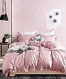 ELEH - Set di biancheria da letto con volant rosa, 3 pezzi (1 copripiumino + 2 federe) per ragazze, 100% microfibra di poliestere, comoda con chiusura lampo, 200 x 220 cm + 2 x 80 x 80 cm)