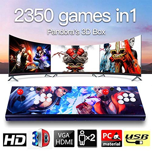 3D Pandora's Box Arcade Game Console Videoautomat Classic, 2 Spieler, 1920x1080 Full HD Multiplayer Home Arcade Konsole, 2350 Spiele All in 1 Double Stick Buttons Power HDMI, Modell HA-06