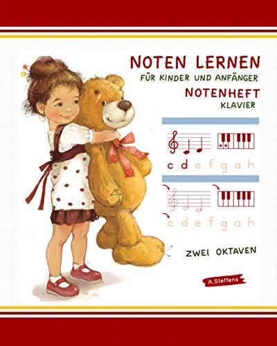 Noten lernen für Kinder und Anfänger. Notenheft. Klavier. Zwei Oktaven.