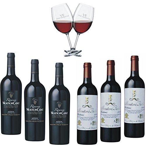 Super Kennenlernpaket Bordeaux 6 Flaschen Rotwein von Baron Philippe de Rotschild - Réserve Mouton Cadet Médoc AOC und Mouton Cadet 'Edition Vintage 'Retro' - dazu 2 Original VE Rotweinkelche gratis