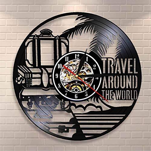 LBJZD Reloj de Pared Viaje Alrededor del Mundo Vacaciones Turismo Reloj De...