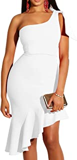 8fae0f2167 Mokoru Women's Sexy One Shoulder Sleeveless Ruffle Bodycon Midi Club Party  Dress