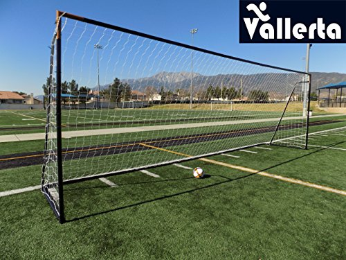 Vallerta 24 x 8 Ft.Regulation Size Soccer Goal w/Weatherproof HDPE Net. 50MM Diameter Industrial Grade Blk/Gld Powder Coated Galvanized Steel. Portable 8x24 Foot Training Aid(1Net) ONE Year Warranty!