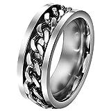 FANSING Mens Spinner Rings, Fidget Ring, Stainless Steel Band, Silver, Size 9.5