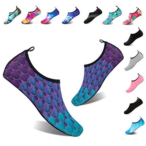 YALOX Water Shoes Women's Men's Outdoor Beach Swimming Aqua Socks Quick-Dry Barefoot Shoes Surfing Yoga Pool Exercise(YL-Blue/Green,40/41EU)